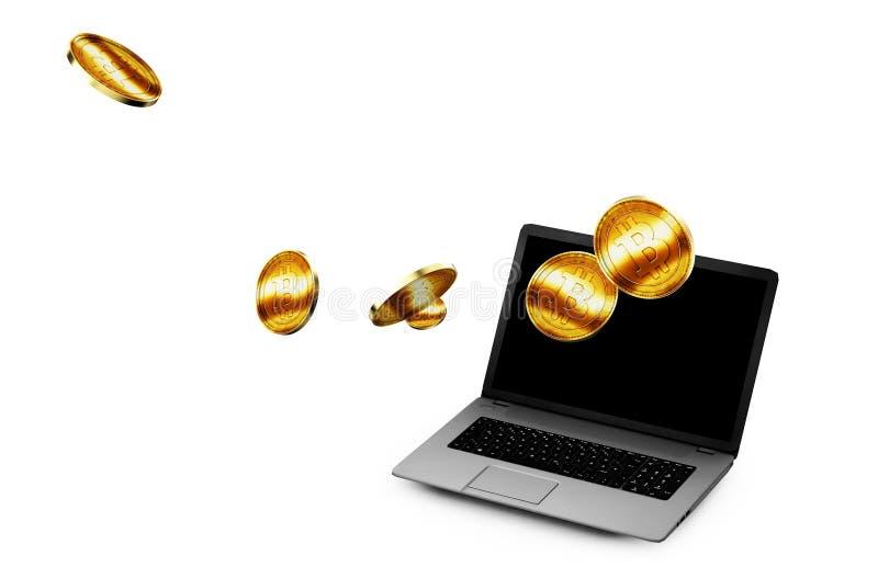 illustration 3D de Bitcoin d'or étant inséré dans l'accep de pièce de monnaie illustration de vecteur