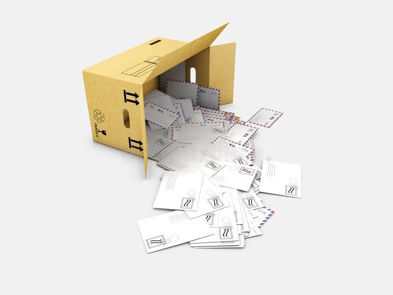 illustration 3d de boîte avec des lettres dedans D'isolement sur le fond blanc illustration de vecteur