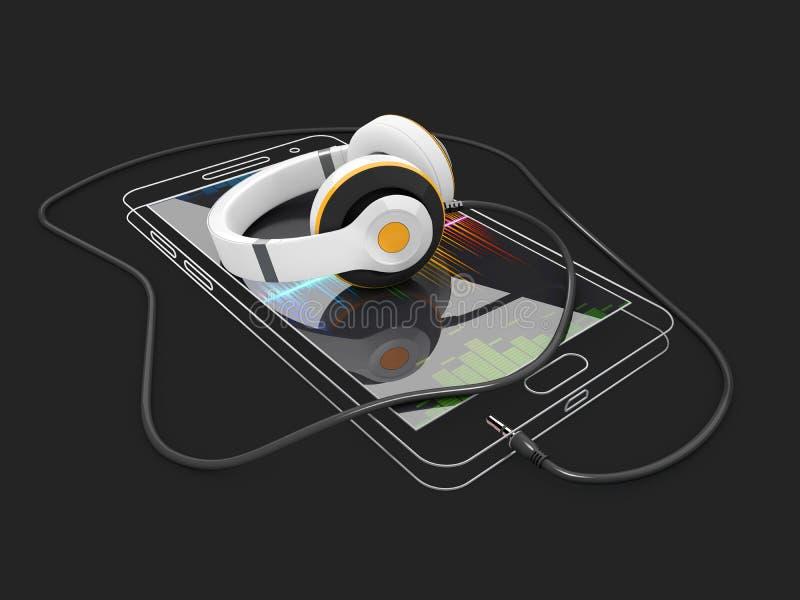 illustration 3d de calibre d'ensemble de téléphone avec l'écouteur Nettoyez le téléphone portable linéaire de maquette illustration de vecteur