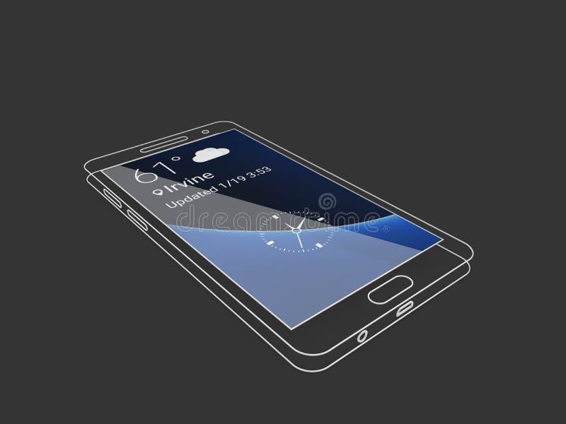 illustration 3d de calibre d'ensemble de téléphone avec l'écran bleu Nettoyez le téléphone portable linéaire de maquette illustration libre de droits