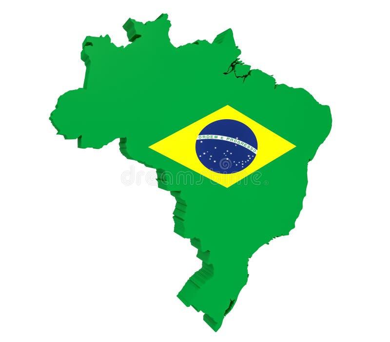 illustration 3d de carte du Brésil avec le drapeau brésilien sur le fond blanc illustration stock