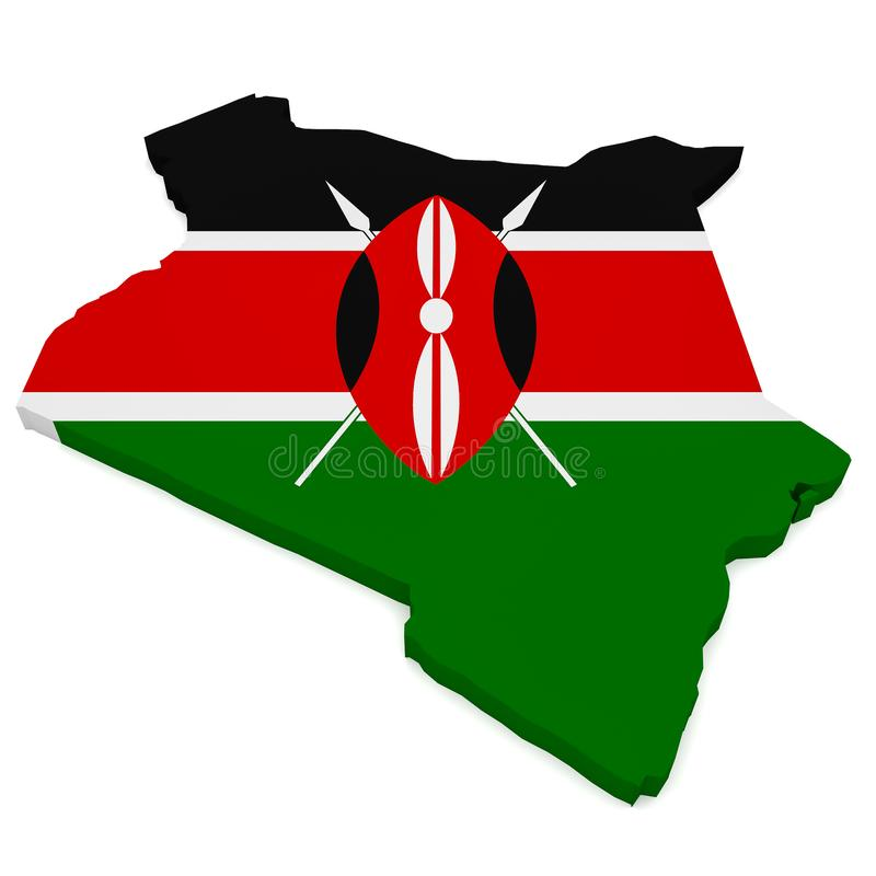 illustration 3d de carte du Kenya avec Kenyan Flag Isolated On White illustration de vecteur