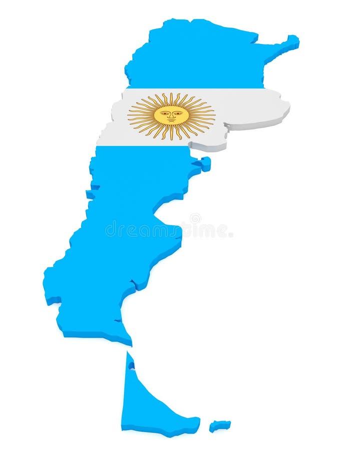 illustration 3d de carte de l'Argentine avec le drapeau argentin d'isolement sur le blanc illustration libre de droits