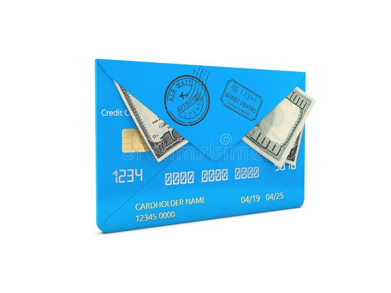 illustration 3d de cent billets d'un dollar sous enveloppe, concept de transfert d'argent illustration stock