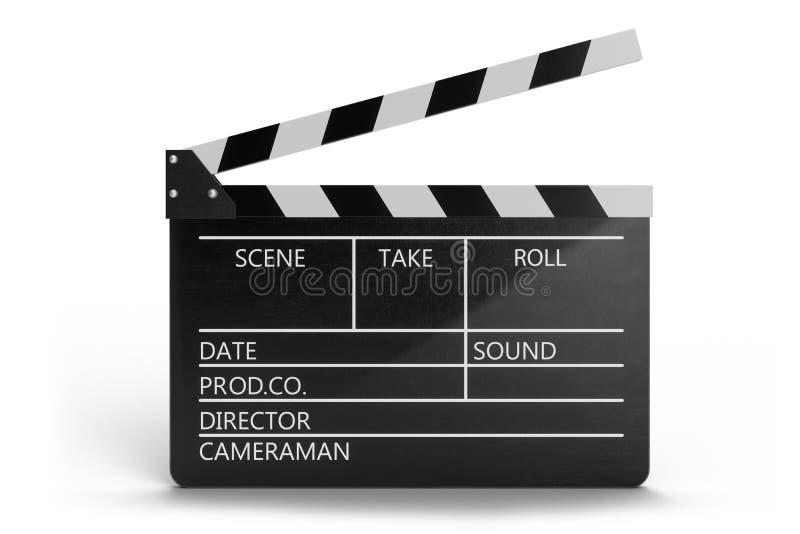 illustration 3d de clapet ou de claquette ouvert de film d'isolement sur le fond blanc Clapet noir de film avec des champs pour illustration de vecteur