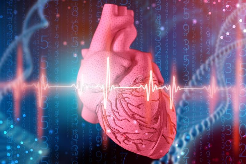 illustration 3d de coeur et de cardiogramme humains sur le fond bleu futuriste Technologies numériques dans la médecine illustration stock