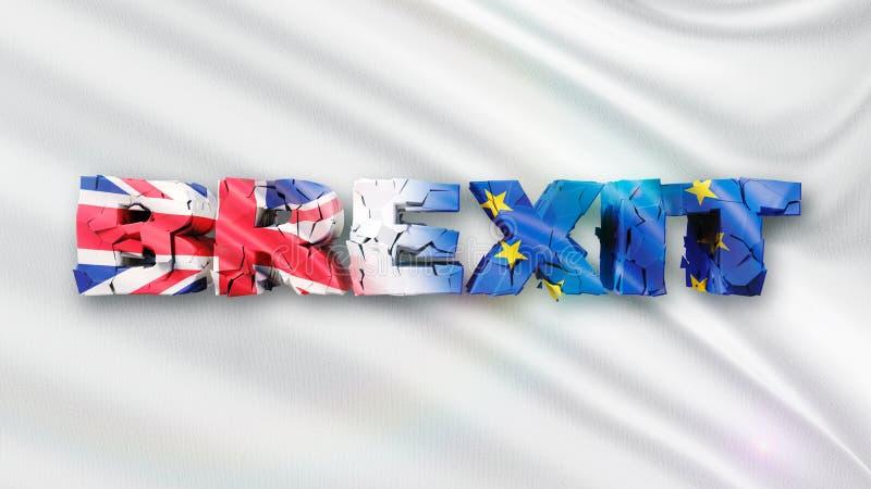 illustration 3D de concept criqué de Brexit avec le drapeau blanc et le texte 3d illustration de vecteur