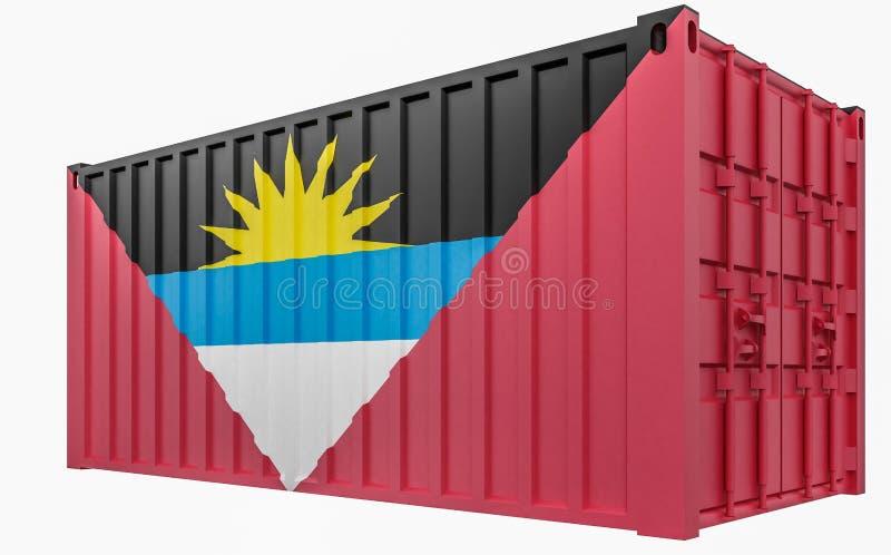 illustration 3D de conteneur de cargaison avec le drapeau de l'Antigua-et-Barbuda illustration de vecteur