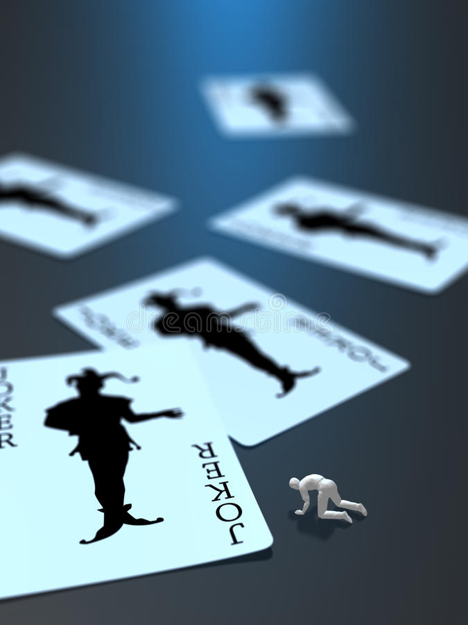 illustration 3D de désespoir de carte de joker illustration stock