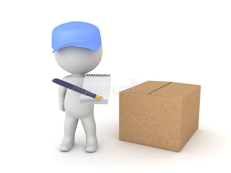 illustration 3D de deliverman avec le paquet demandant un signatur illustration de vecteur