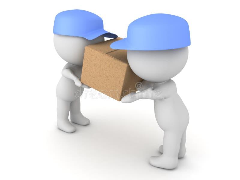 illustration 3D de deux livreurs transportant un paquet illustration de vecteur