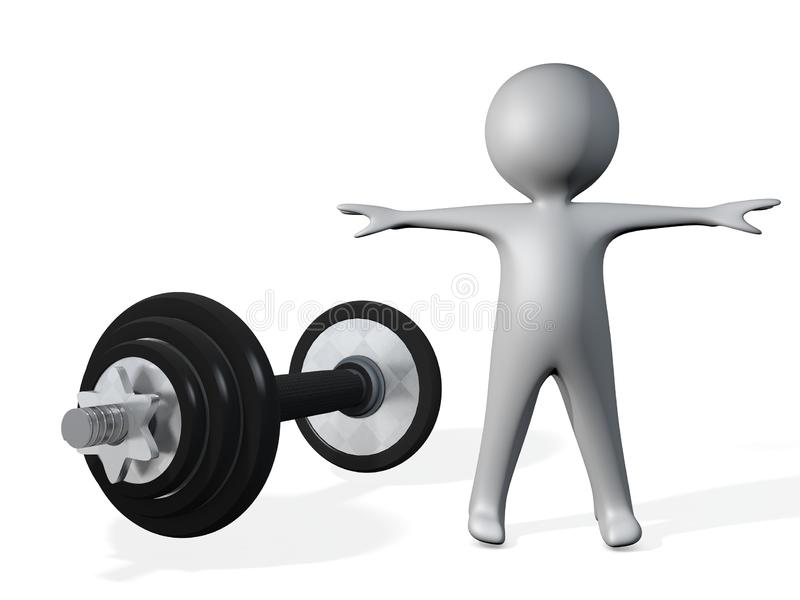illustration 3d de figure humaine avec le barbell de tige illustration libre de droits