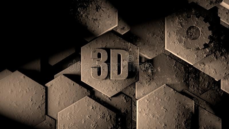 illustration 3D de fond futuriste abstrait de beaucoup de différents hexagones, pierre de nid d'abeilles avec des éraflures et ro illustration stock