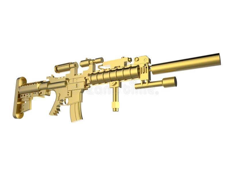 Illustration d'or de fusil d'assaut illustration libre de droits