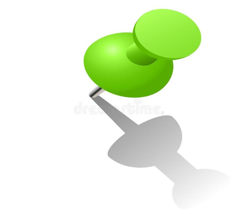 illustration 3d de goupille verte de poussée sur le fond blanc illustration de vecteur