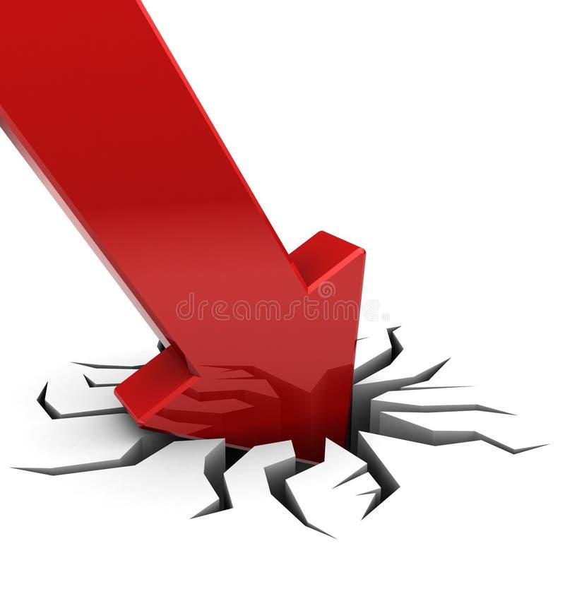 Chute rouge de flèche illustration libre de droits