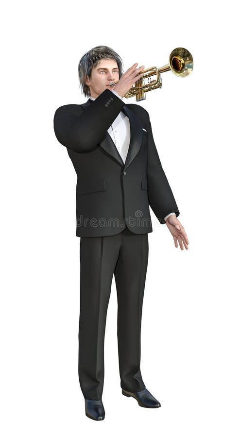 illustration 3D de Jazz Trumpet Player dans le smoking sur le fond blanc de clé de chroma pour l'édition facile illustration libre de droits