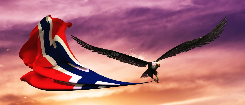 illustration 3d de l'aigle et du drapeau flottant dans le vent illustration de vecteur