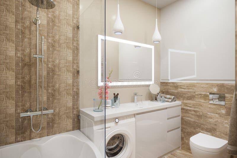illustration 3d de l'intérieur de la salle de bains dans un moderne illustration stock