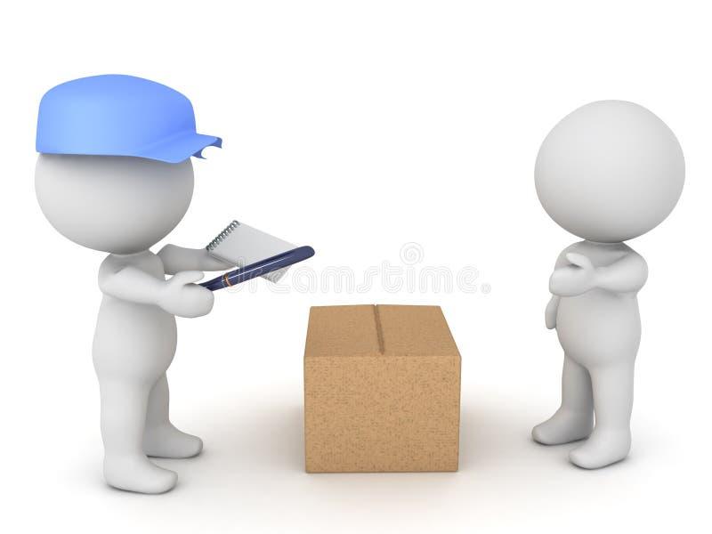 illustration 3D de livreur apportant le paquet à un client illustration libre de droits