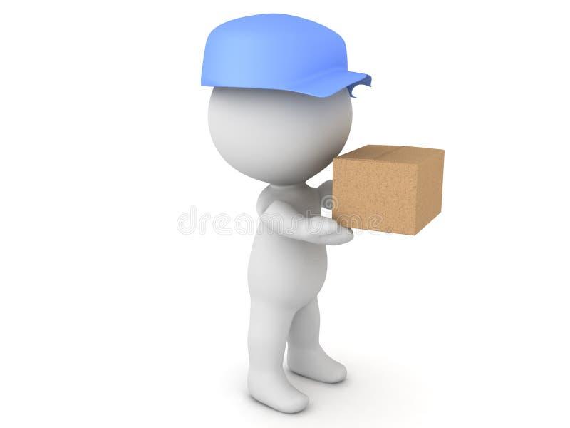 illustration 3D de livreur tenant le paquet illustration de vecteur