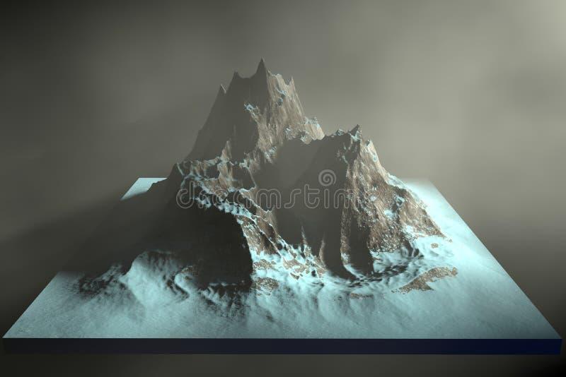 illustration 3d de montagnes rocheuses sur un fond abstrait illustration stock