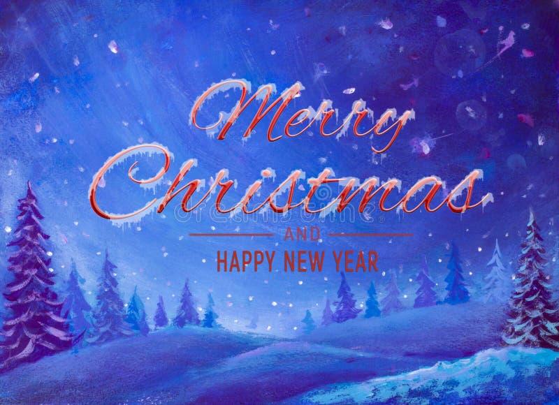 Illustration d'illustration de peinture à l'huile d'aquarelle d'hiver Beaux mots vacances de paysage d'art de Joyeux Noël et de b illustration de vecteur