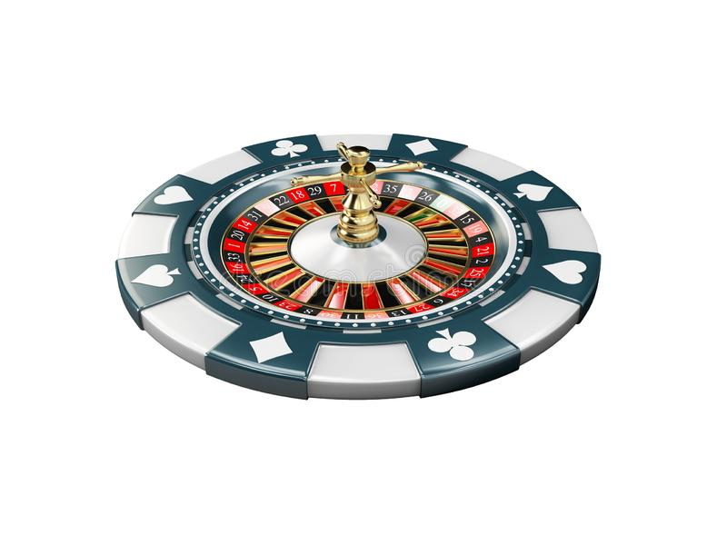 illustration 3d de puce de casino avec la roulette, fond blanc d'isolat photos stock