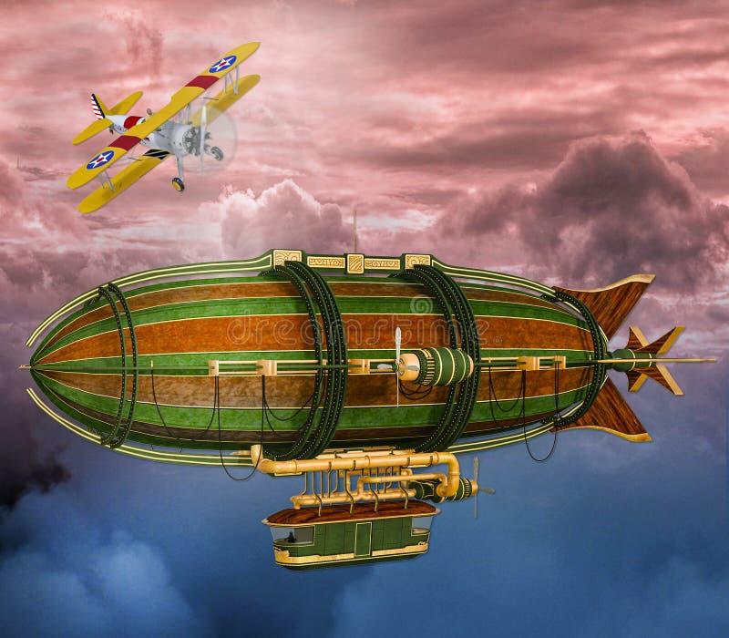 illustration 3D de rétro scène de zeppelin et d'avion de Steampunk illustration libre de droits