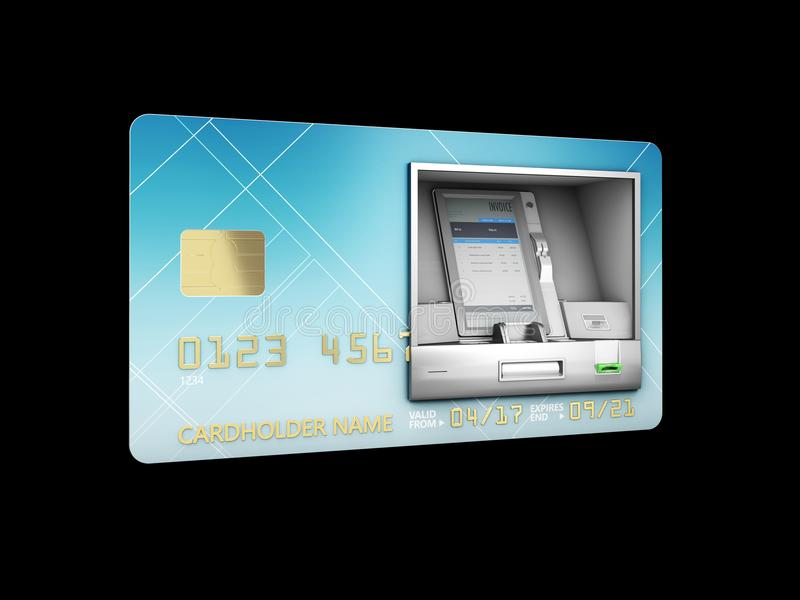 illustration 3d de retrait d'argent Atmosphère et carte de crédit ou de débit Noir d'isolement illustration de vecteur