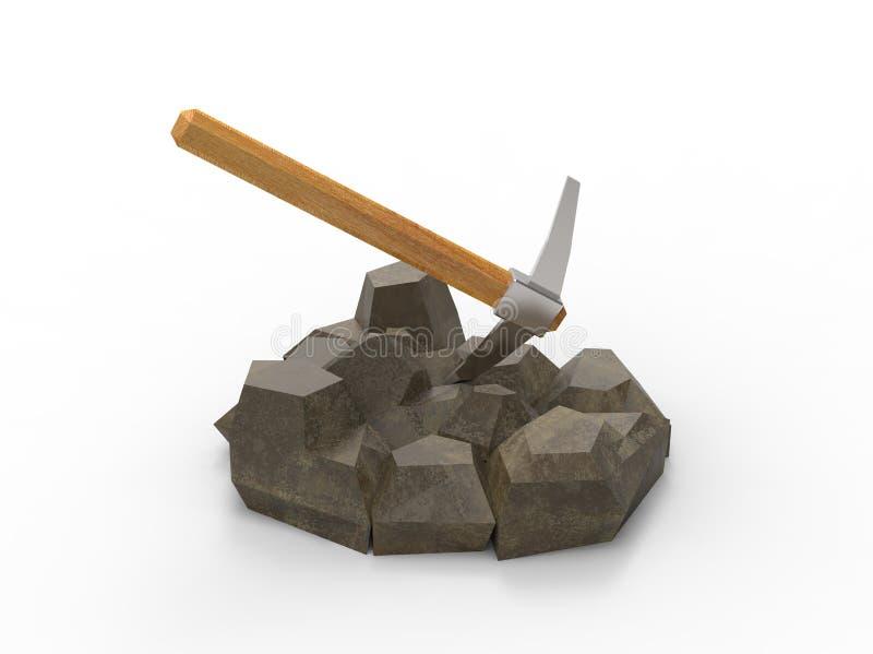 illustration 3d de sélection sur les roches illustration stock