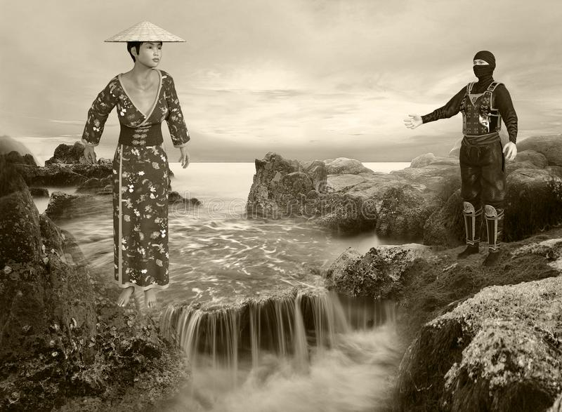 illustration 3D de sépia Tone Sunrise Waterfall Scene illustration stock