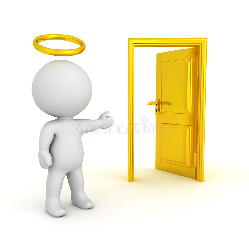 illustration 3D de saint avec un halo montrant une porte ouverte illustration stock