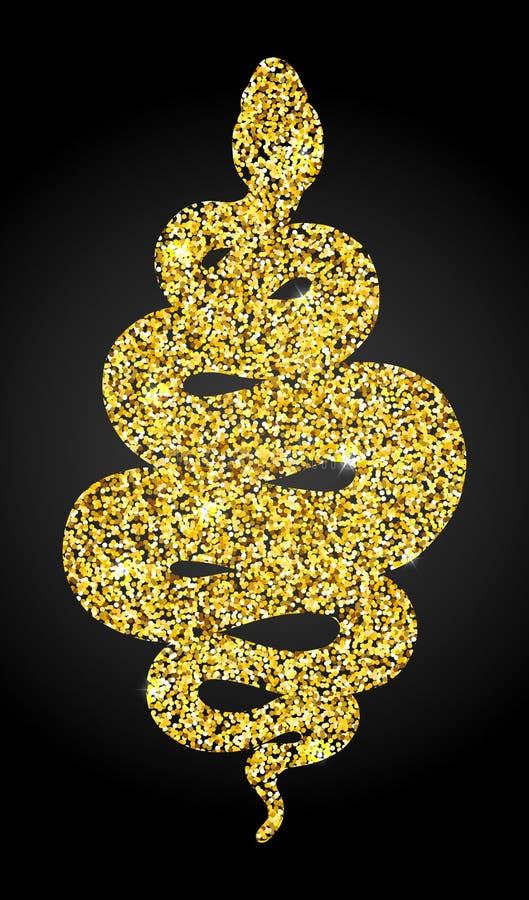 Illustration d'or de scintillement de serpent enroulé au-dessus de noir illustration libre de droits