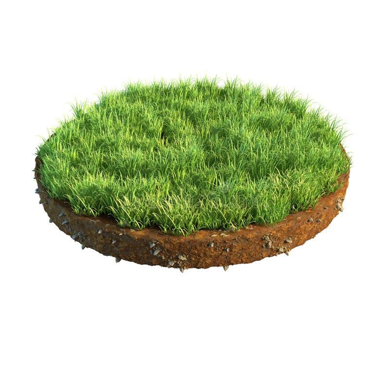 illustration 3d de section transversale de la terre avec l'herbe d'isolement sur le blanc images stock