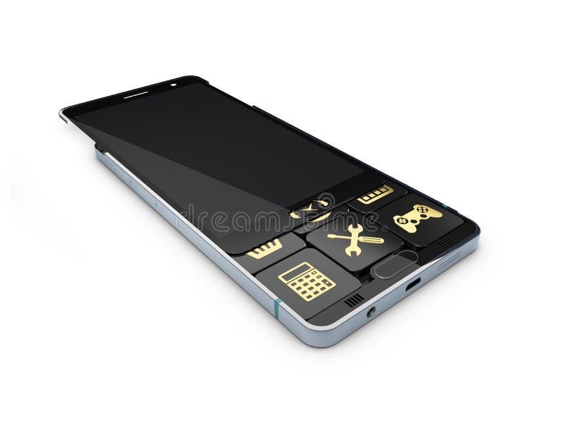 illustration 3d de smartphone d'écran tactile avec des icônes d'application d'isolement sur le fond blanc illustration de vecteur