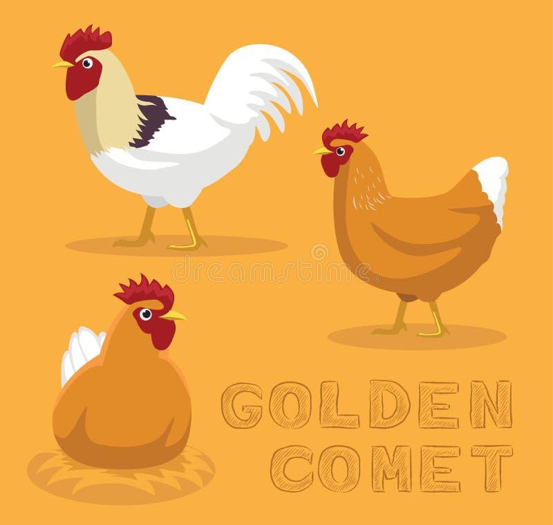 Illustration d'or de vecteur de bande dessinée de comète de poulet illustration de vecteur