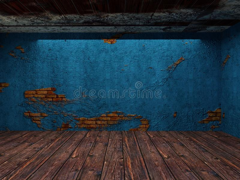illustration 3D de vieille pièce abandonnée du fond OD illustration stock