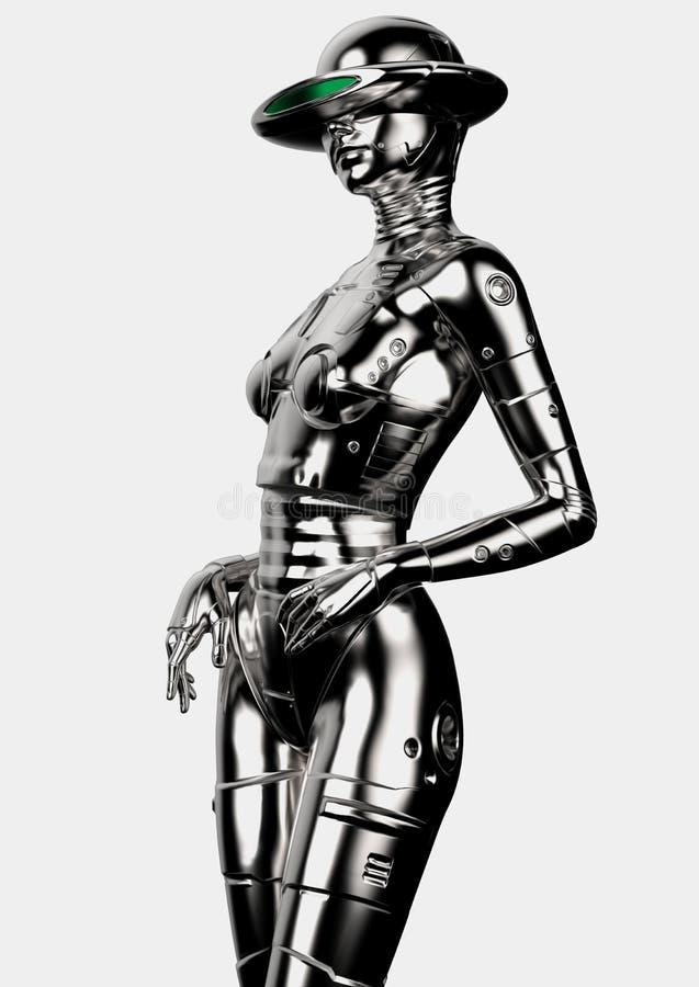 illustration 3d Den stilfulla chromeplated cyborgen kvinnan vektor illustrationer