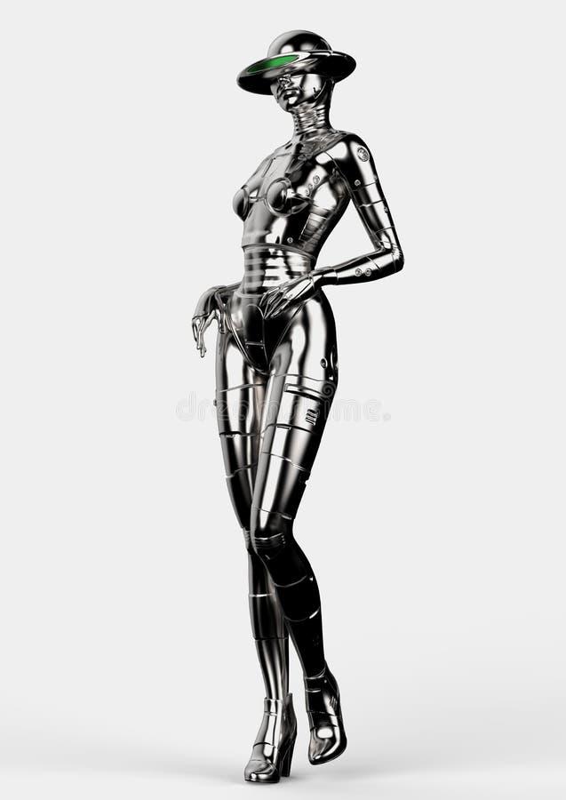 illustration 3d Den stilfulla chromeplated cyborgen kvinnan royaltyfri illustrationer