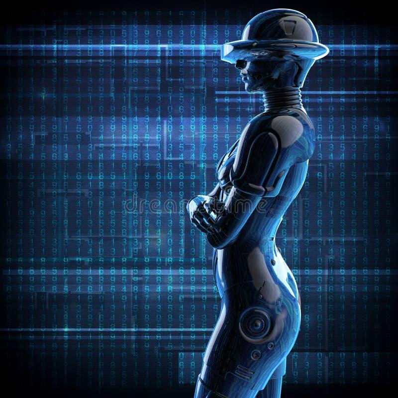 illustration 3d Den stilfulla chromeplated cyborgen kvinnan stock illustrationer