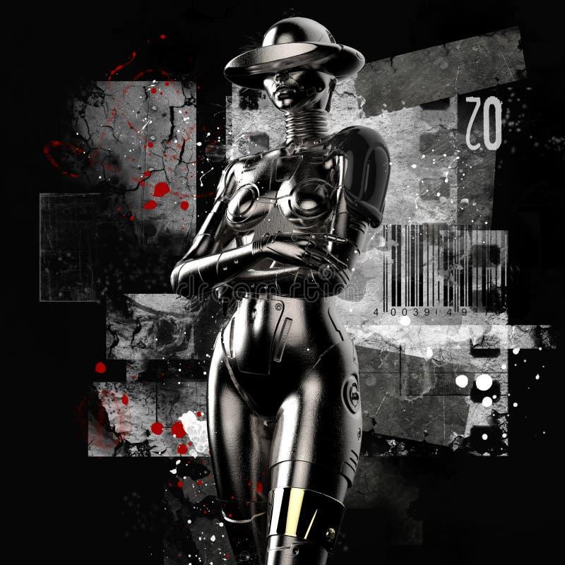 illustration 3d Den stilfulla cyborgen kvinnan på en grungebakgrund royaltyfri illustrationer