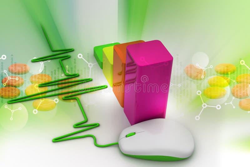 Illustration 3d der Computermaus mit Draht als Herzschlagdiagramm lizenzfreie abbildung