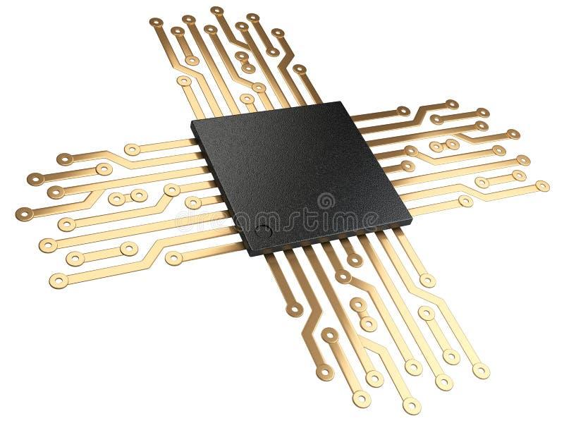 Illustration 3d der CPU Chip-Zentraleinheitseinheit mit Kontakten lizenzfreie abbildung