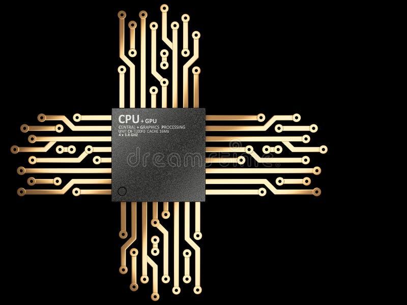 Illustration 3d der CPU Chip-Zentraleinheitseinheit mit Kontakten vektor abbildung