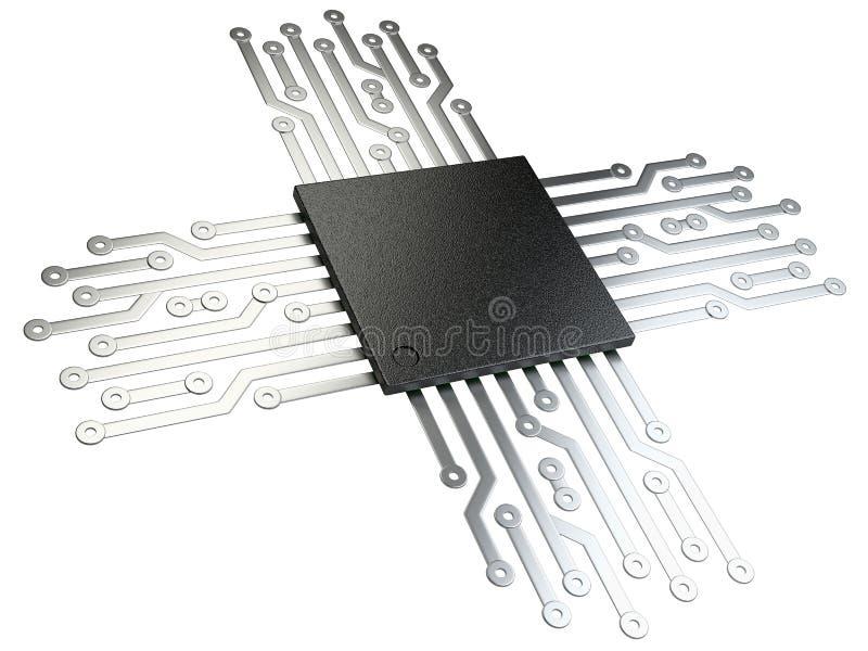 Illustration 3d der CPU Chip-Zentraleinheitseinheit mit Kontakten stock abbildung