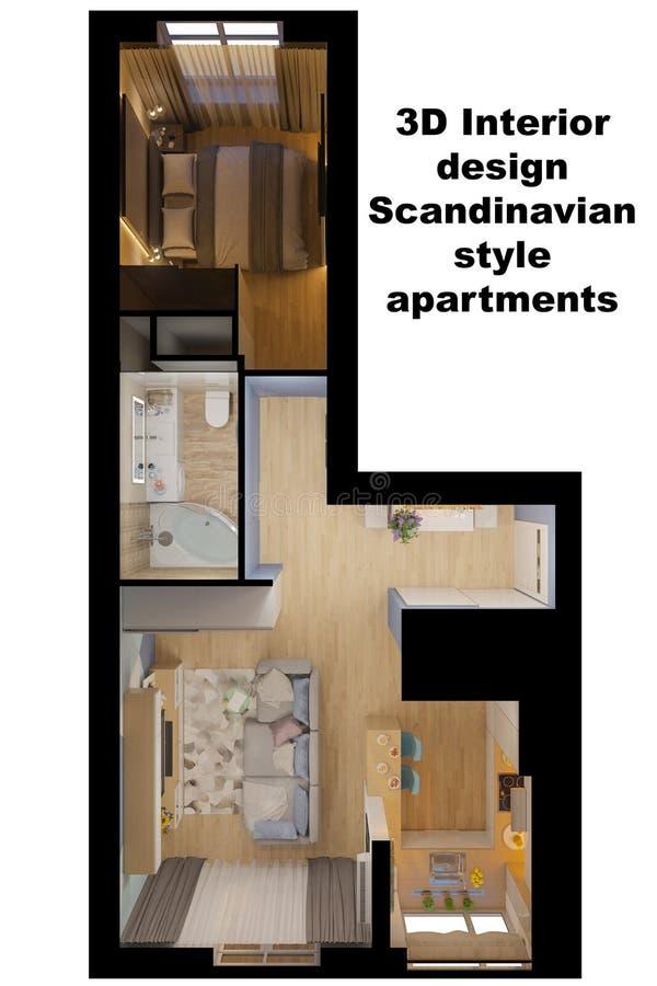 Illustration 3d der Innenarchitektur einer Wohnung vektor abbildung
