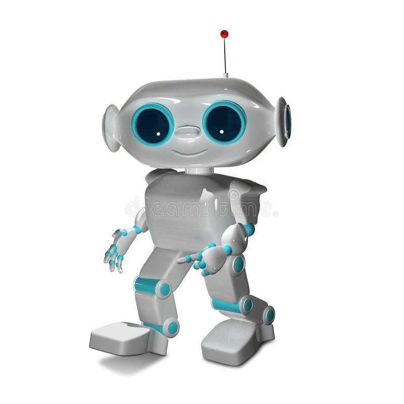 Illustration 3D der kleine weiße Roboter stock abbildung