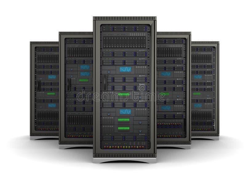 Illustration 3d der Reihe die Servergestelle vektor abbildung