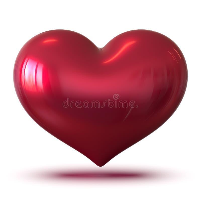 Illustration 3d der roten Valentinsgrußherzform glatt, ich liebe dich vektor abbildung